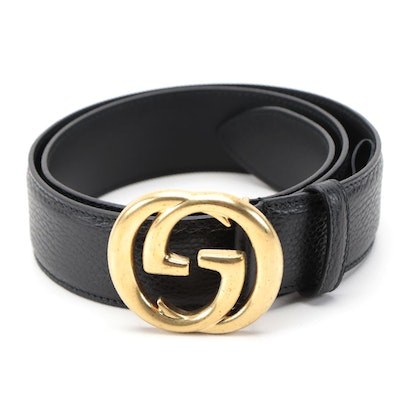 Men's Gucci Wide Belt in Grained Leather with Interlocking GG Buckle and Box