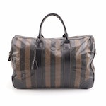 Fendi Pequin Stripe Travel Bag and Accessory Pouch in Coated Canvas and Leather