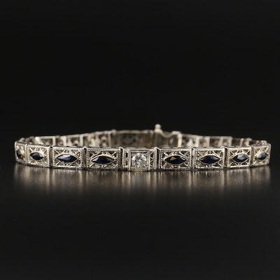Art Deco 14K Diamond and Sapphire Bracelet