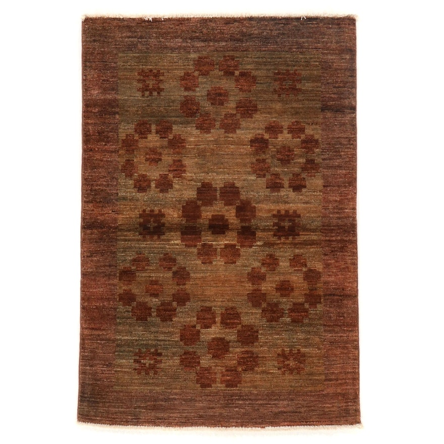 3'2 x 4'9 Hand-Knotted Afghan Gabbeh Wool Accent Rug