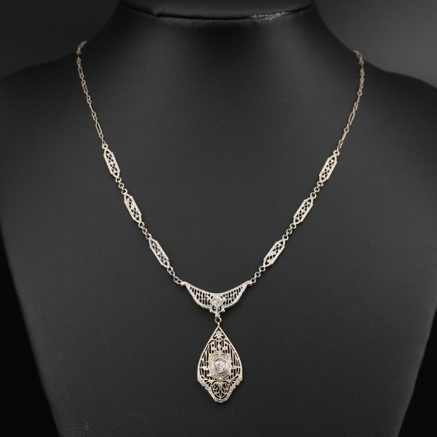 Edwardian 14K Diamond Necklace