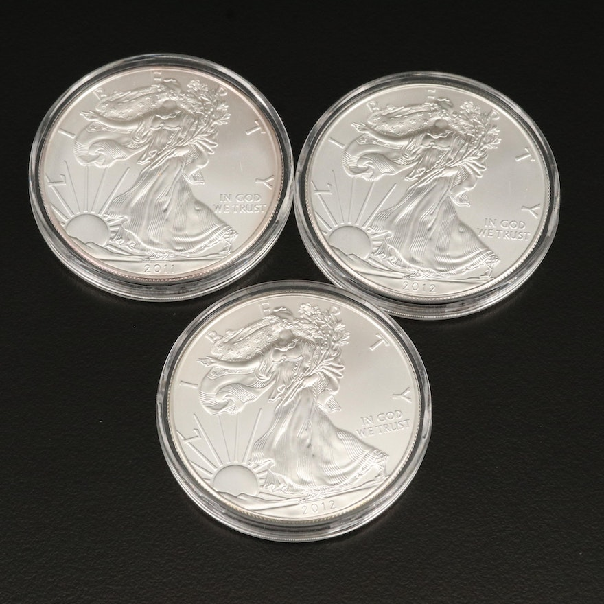 Three $1 American Silver Eagle Bullion Coins, 2011–2012