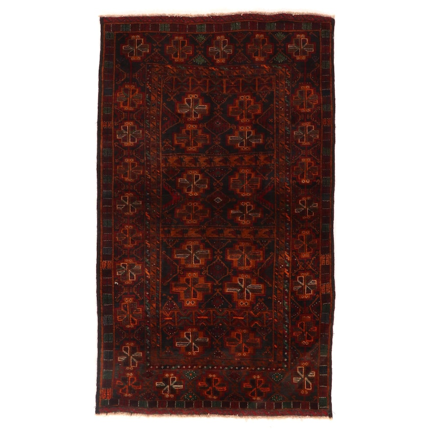 4' x 6'8 Hand-Knotted Afghan Turkmen Wool Area Rug