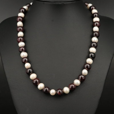 Pearl and Garnet Necklace with Sterling Clasp