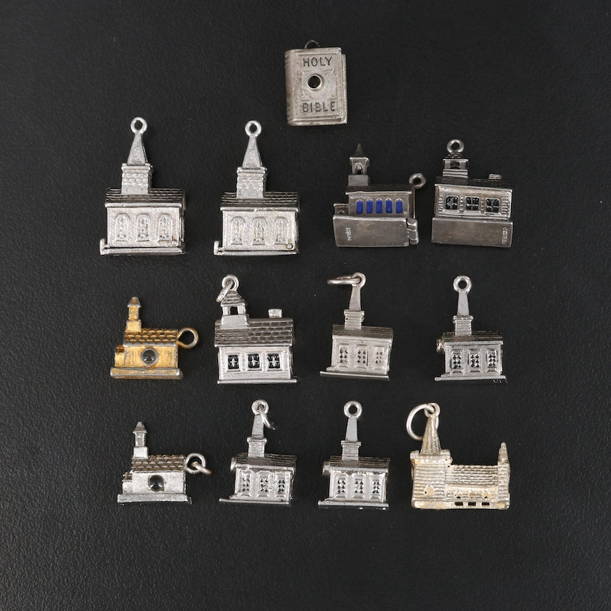 Vintage Stanhope Charm Selection Including Church and Bible Charms