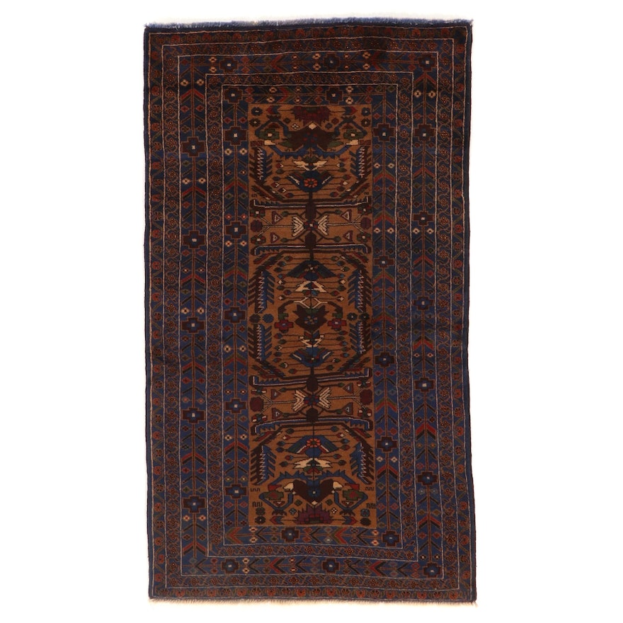 3'9 x 6'8 Hand-Knotted Afghan Baluch Wool Area Rug
