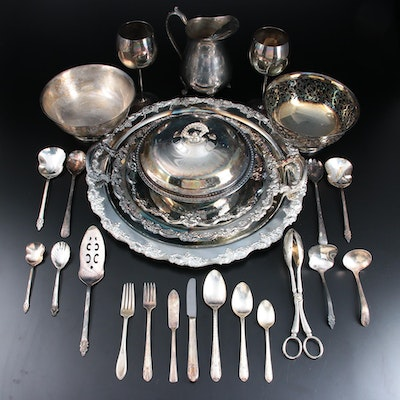 Sheridan Chased Silver Plate Serving Tray and Other Silver Plate Tableware