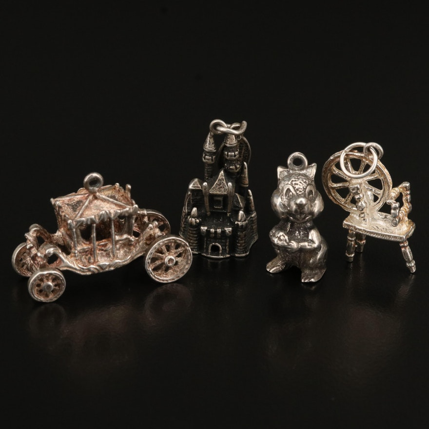 Sterling Charm Selection Including Disney Castle and Carriage Charms