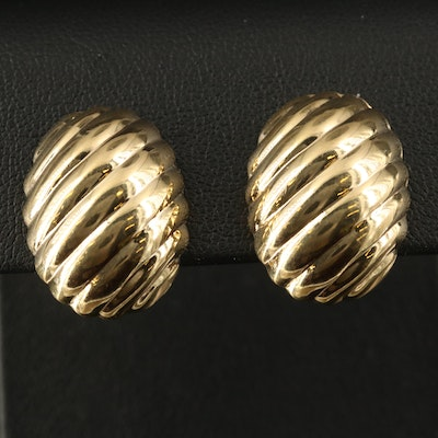 14K Oval Ridged Button Clip Earrings