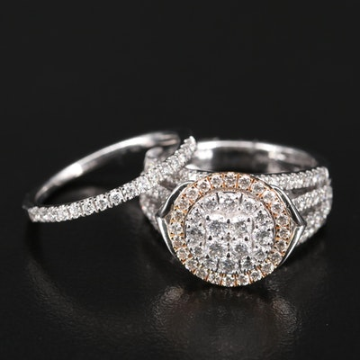 14K 1.74 CTW Diamond Cluster Ring and Band