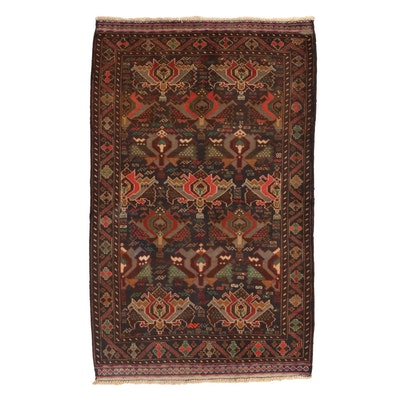 3'1 x 5'0 Hand-Knotted Afghan Baluch Wool Area Rug