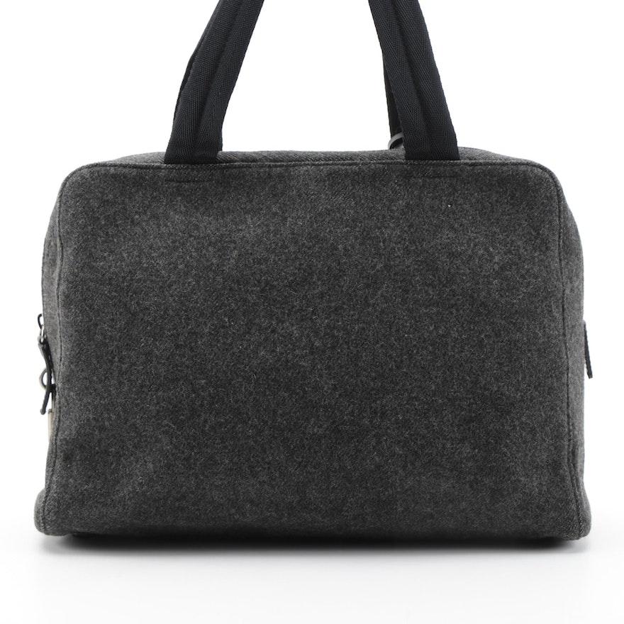Prada Anthracite Wool Top Handle Bag