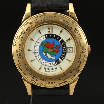 Gruen World Timer Gold Tone Quartz Wristwatch