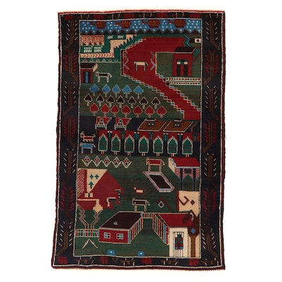 2'11 x 4'6 Afghan Baluch Pictorial Wool Accent Rug