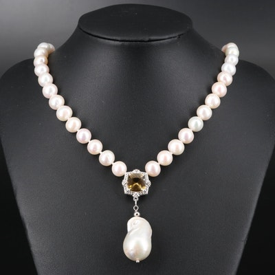 Sterling Pearl, Heliodor and White Topaz Necklace
