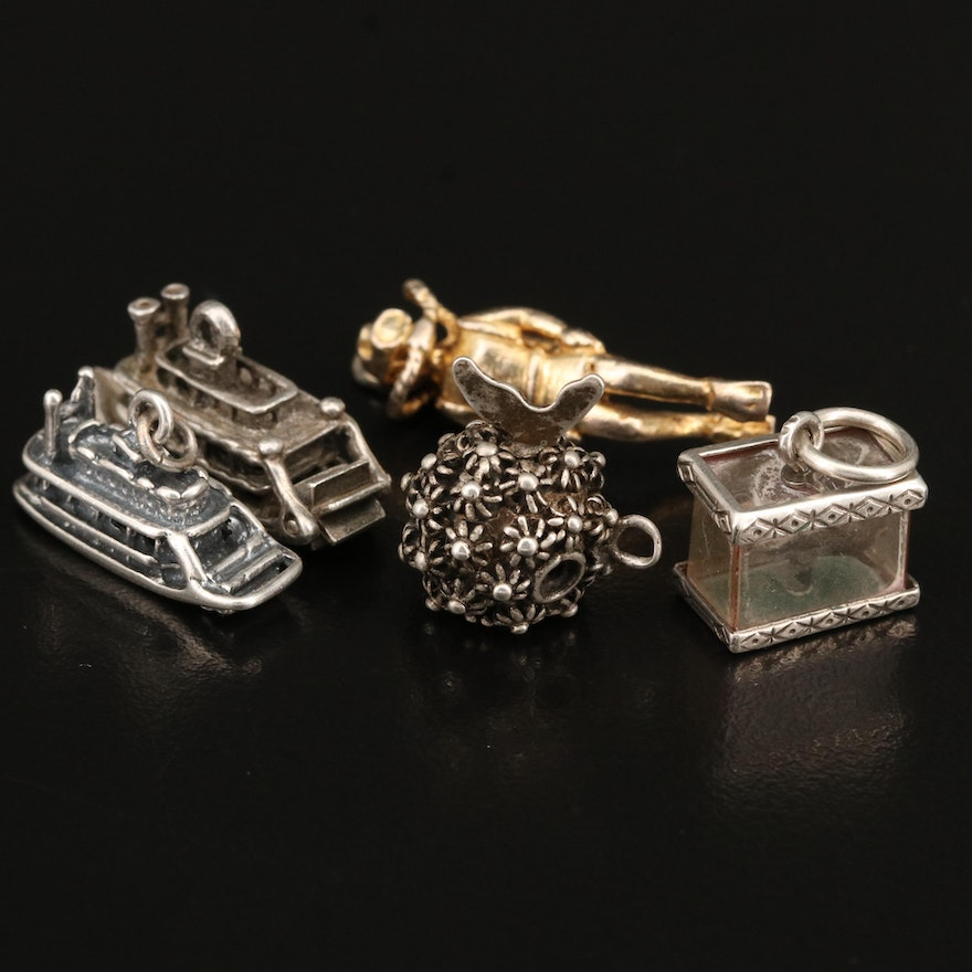 Vintage Sterling Charm Selection Including Fish Tank and Boat Charms
