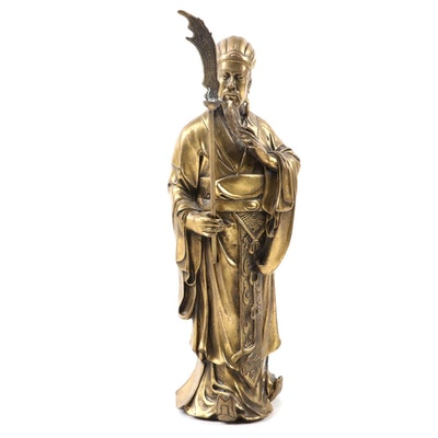 Chinese Cast Gilt Bronze Kwan Kung Figurine