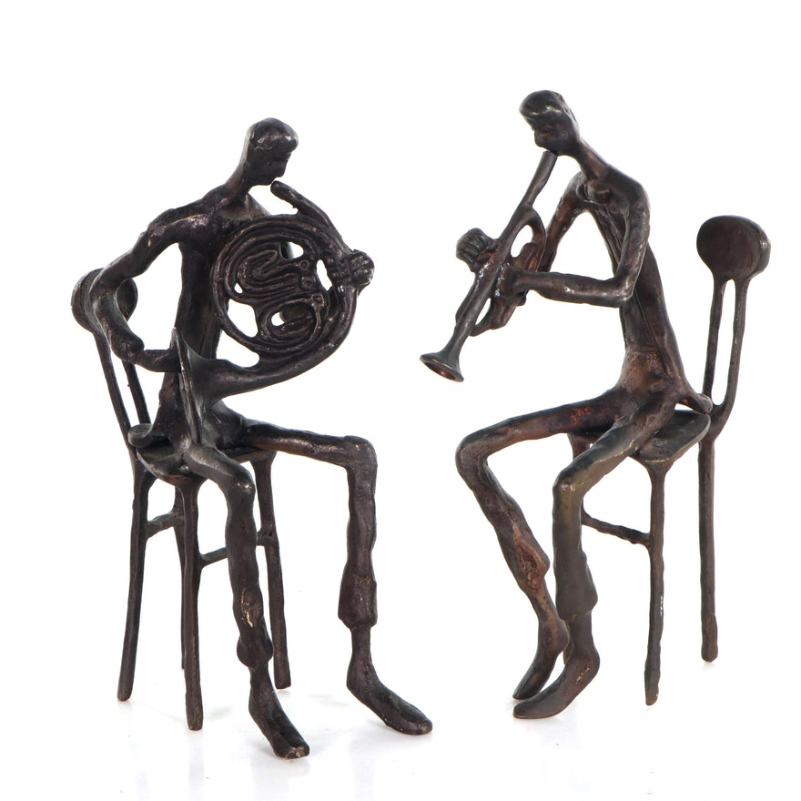 Modernist Bronze Sculptures of Trumpet and French Horn Players