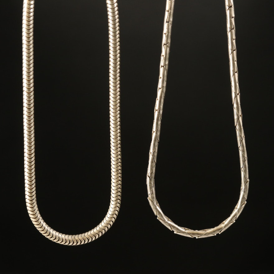 Sterling Snake and Cobra Link Necklaces