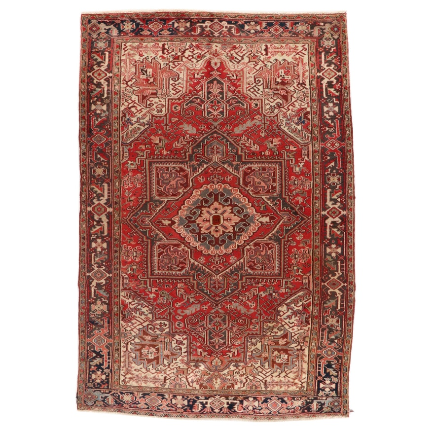 7'1 x 10'7 Hand-Knotted Persian Heriz Wool Area Rug