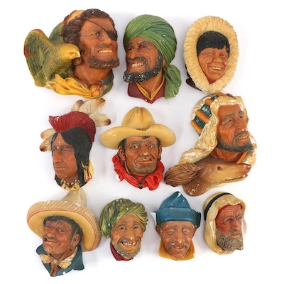 Bosson's Chalkware Character Head Wall Hangings, Mid-20th Century