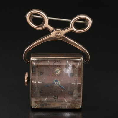 "Vintage Harman ""Block of Ice"" 10K Rolled Gold Plate Brooch Watch"