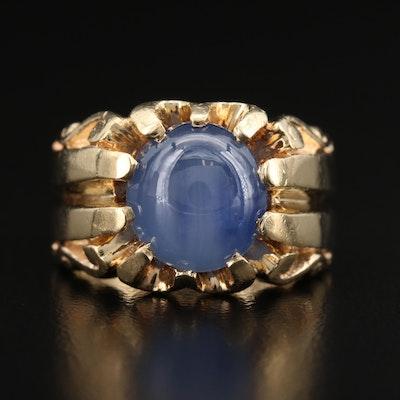 14K 9.17 CT Star Sapphire Belcher Ring