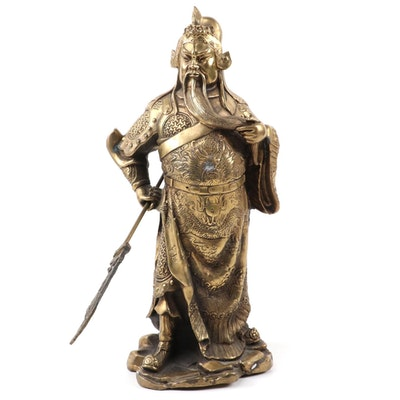 Chinese Style Fengshui Gilt Bronze Figurine of Guan Yu