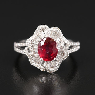 14K Corundum and Diamond Ballerina Ring