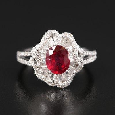 14K Corundum and Diamond Ballerina Ring