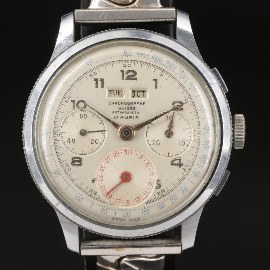 Vintage Chronographe Suisse Triple Calendar Stem Wind Wristwatch