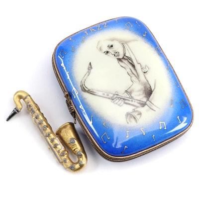 """La Gloriette """"It's Oh, So Nice"""" Jazz Saxophone Porcelain Limoges Box"""