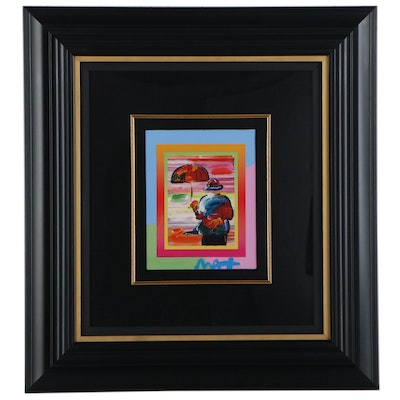 "Peter Max Embellished Giclée ""Umbrella Man on Blends,"" 21st Century"