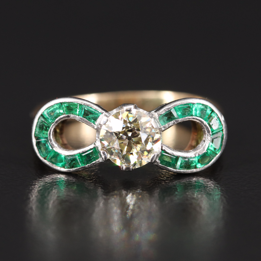 Art Deco 14K 1.00 CT Diamond and Emerald Ring