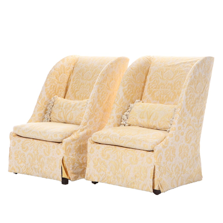 Pair of Lee Custom Upholstered Slip-Covered Lounge Chairs