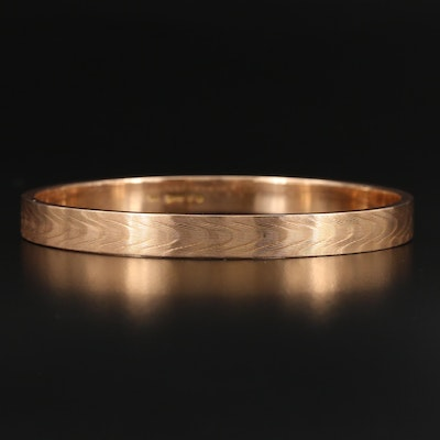 Circa 1865 English 15K Bangle with Moiré Pattern
