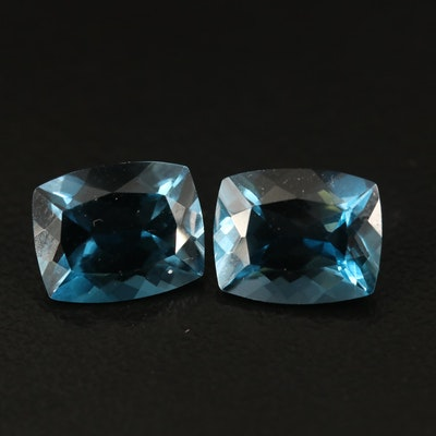 Loose 6.83 CTW Matching Pair of London Blue Topaz