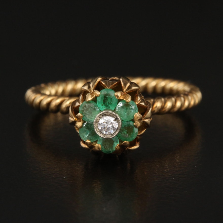 18K Diamond and Emerald Flower Ring