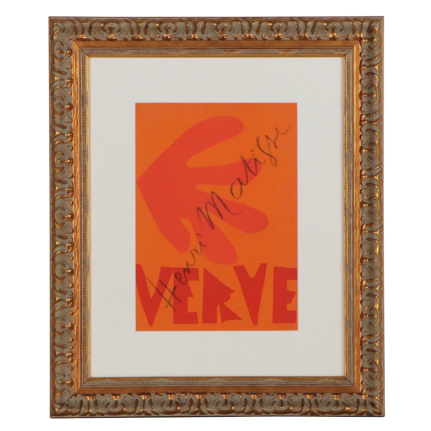 "Henri Matisse Color Lithograph Cover for ""Verve,"" 1958"