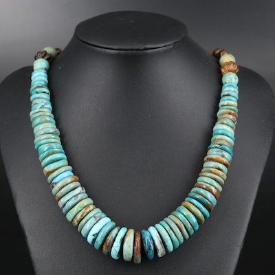 Graduated Turquoise and Tiger's Eye Quartz Necklace with Sterling Clasp