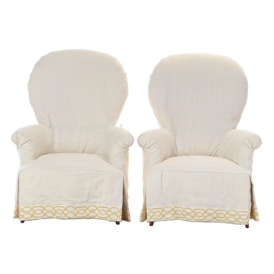 "Pair of Heritage Home ""Nanette"" Custom Upholstered Slip-Covered Armchairs"