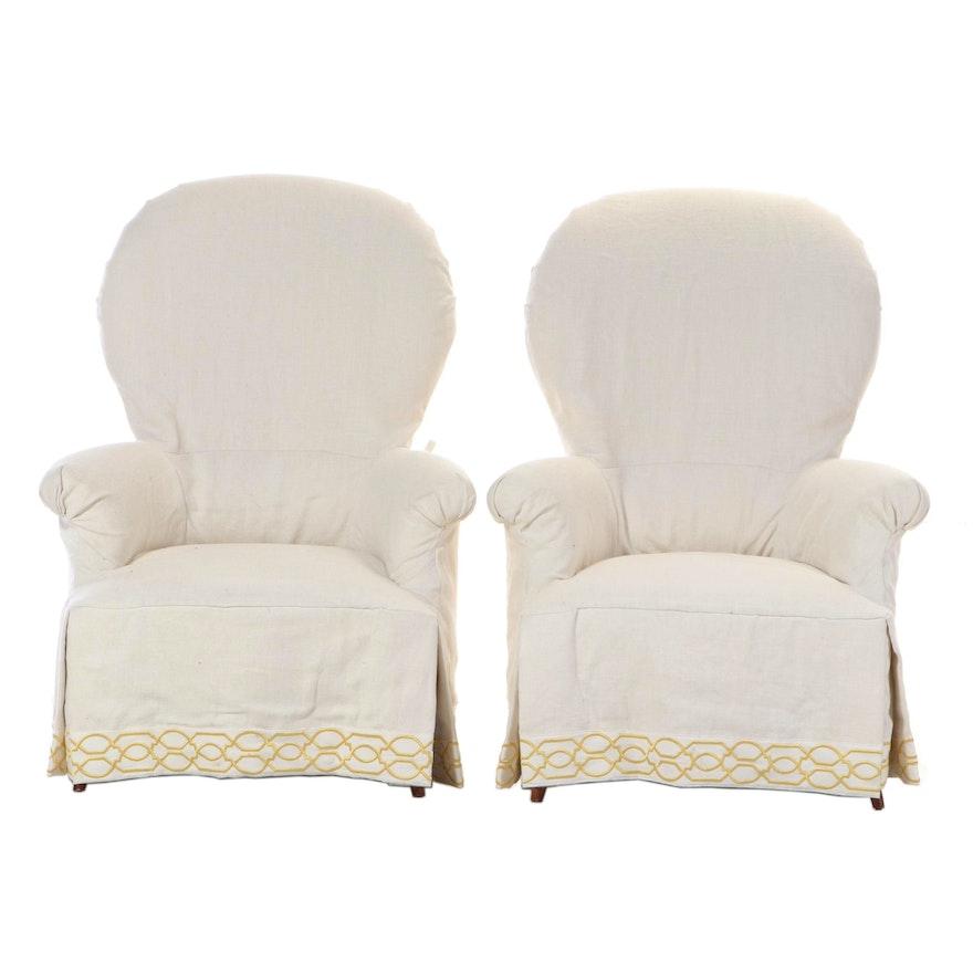 "Pair of Heritage Home ""Nanette"" Custom Upholstered Slip-Covered Armchairs"