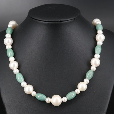 Jadeite and Pearl Necklace with Sterling Clasp