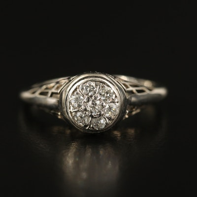 Vintage 14K Diamond Cluster Ring with Open Gallery