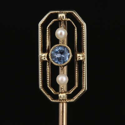 Art Deco 14K Sapphire and Seed Pearl Stick Pin