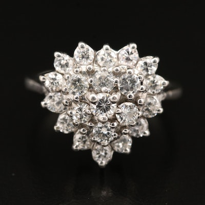 14K Diamond Heart Cluster Ring