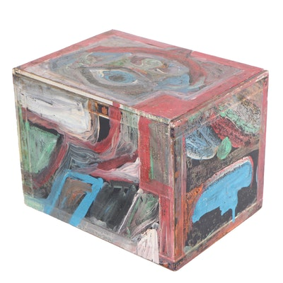 Robert Wright Folk Art Acrylic Painted Cigar Box, Late 20th Century