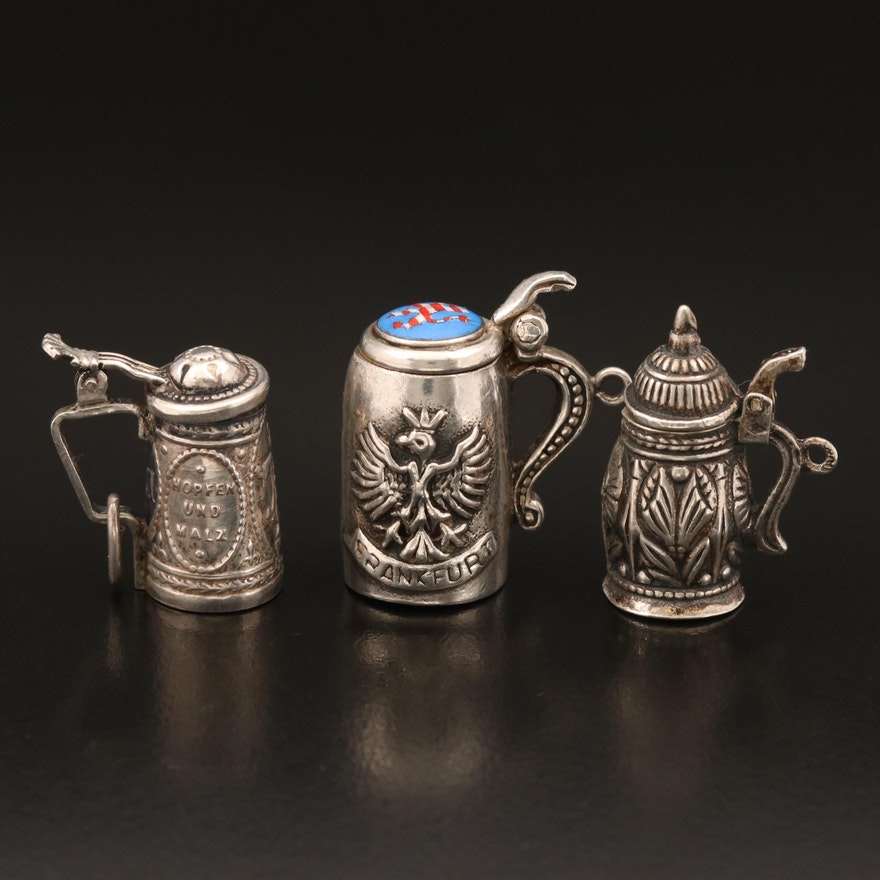 Vintage Articulated Sterling, 835, and 800 Silver Beer Steins