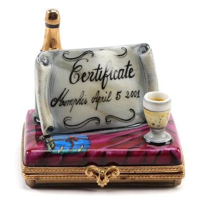 France Deco' Hand-Painted Certificate and Champagne Porcelain Limoges Box
