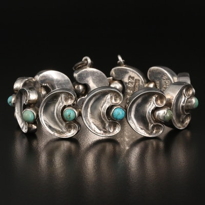 Early 1950s Taxco Antonio Pineda Sterling Turquoise Link Bracelet